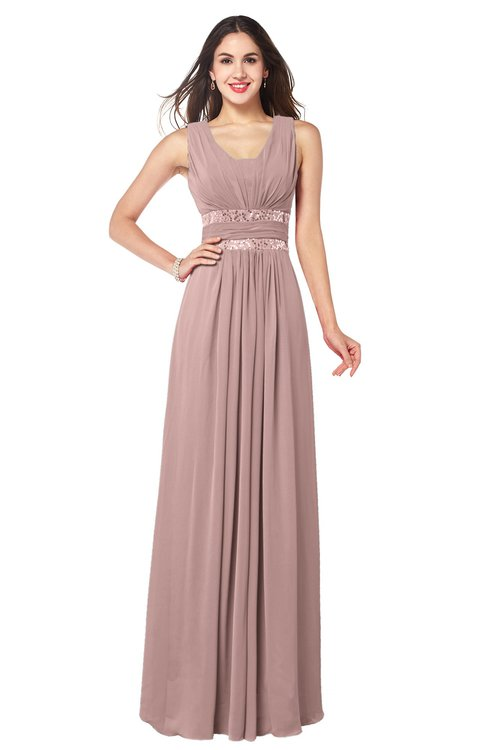ColsBM Kelly Blush Pink Glamorous A-line Zip up Chiffon Sash Plus Size Bridesmaid Dresses
