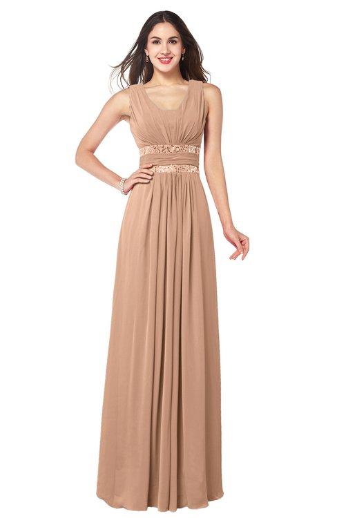 ColsBM Kelly Burnt Orange Glamorous A-line Zip up Chiffon Sash Plus Size Bridesmaid Dresses