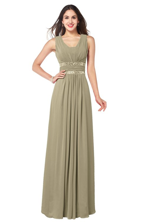 ColsBM Kelly Candied Ginger Glamorous A-line Zip up Chiffon Sash Plus Size Bridesmaid Dresses