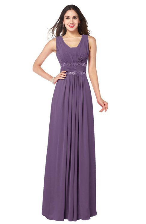 ColsBM Kelly Chinese Violet Glamorous A-line Zip up Chiffon Sash Plus Size Bridesmaid Dresses