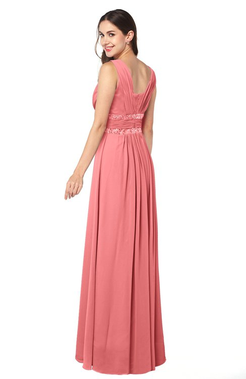 4d148c38c0 ... ColsBM Kelly Coral Glamorous A-line Zip up Chiffon Sash Plus Size Bridesmaid  Dresses