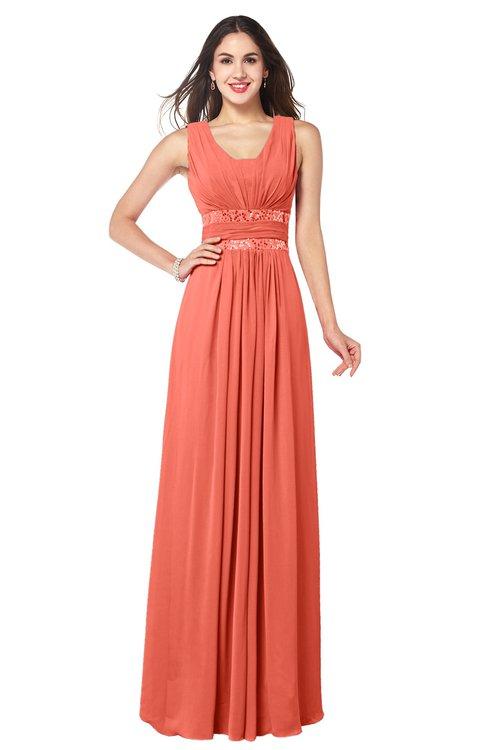 ColsBM Kelly Fusion Coral Glamorous A-line Zip up Chiffon Sash Plus Size Bridesmaid Dresses