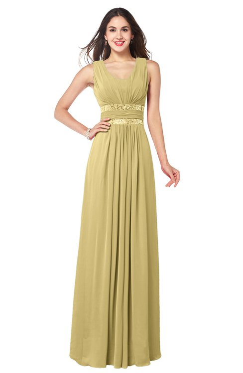 ColsBM Kelly Gold Glamorous A-line Zip up Chiffon Sash Plus Size Bridesmaid Dresses