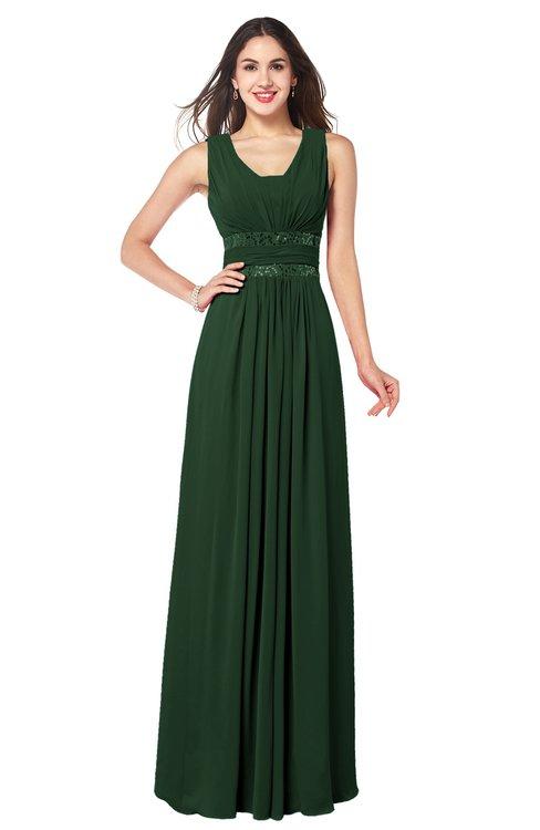 ColsBM Kelly Hunter Green Glamorous A-line Zip up Chiffon Sash Plus Size Bridesmaid Dresses