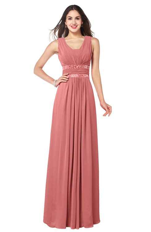 ColsBM Kelly Lantana Glamorous A-line Zip up Chiffon Sash Plus Size Bridesmaid Dresses