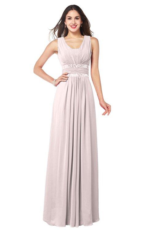 ColsBM Kelly Light Pink Glamorous A-line Zip up Chiffon Sash Plus Size Bridesmaid Dresses