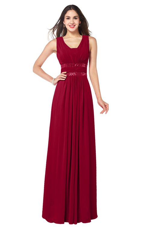 ColsBM Kelly Maroon Glamorous A-line Zip up Chiffon Sash Plus Size Bridesmaid Dresses