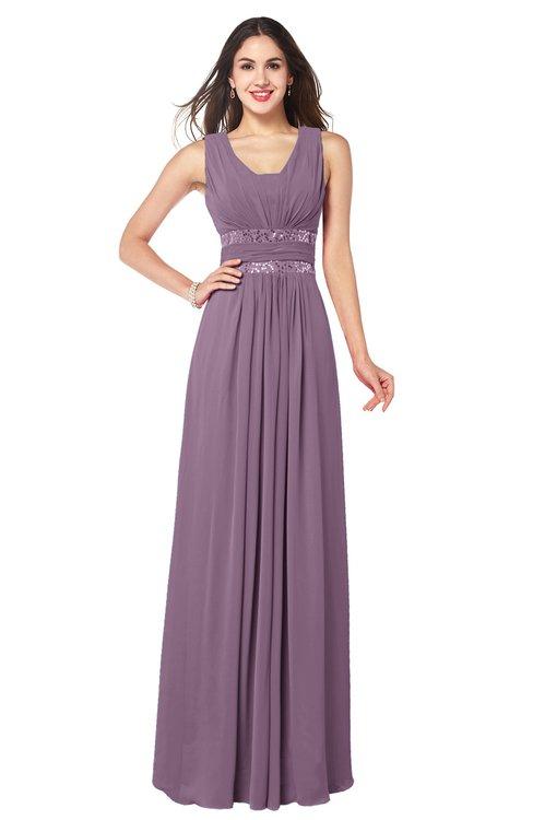 ColsBM Kelly Mauve Glamorous A-line Zip up Chiffon Sash Plus Size Bridesmaid Dresses