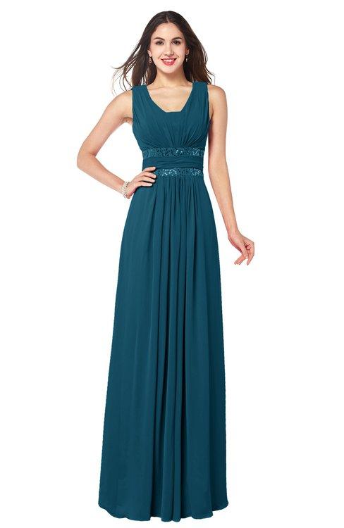ColsBM Kelly Moroccan Blue Glamorous A-line Zip up Chiffon Sash Plus Size Bridesmaid Dresses
