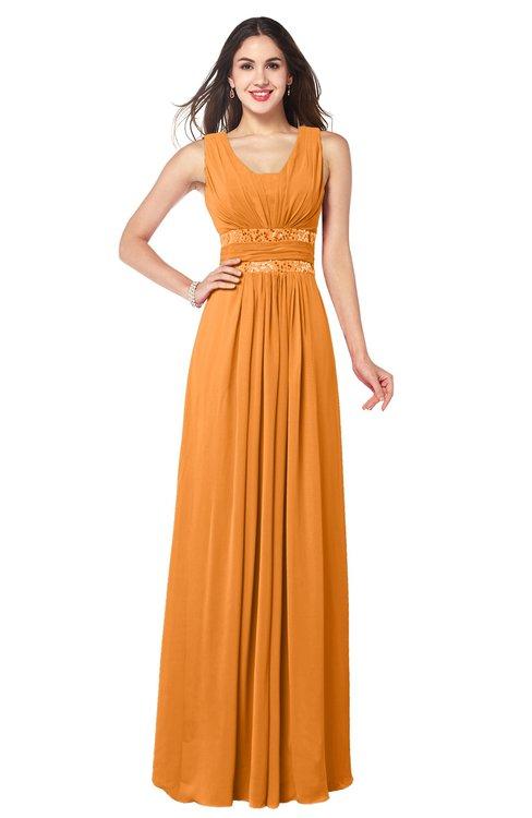 ColsBM Kelly Orange Glamorous A-line Zip up Chiffon Sash Plus Size Bridesmaid Dresses