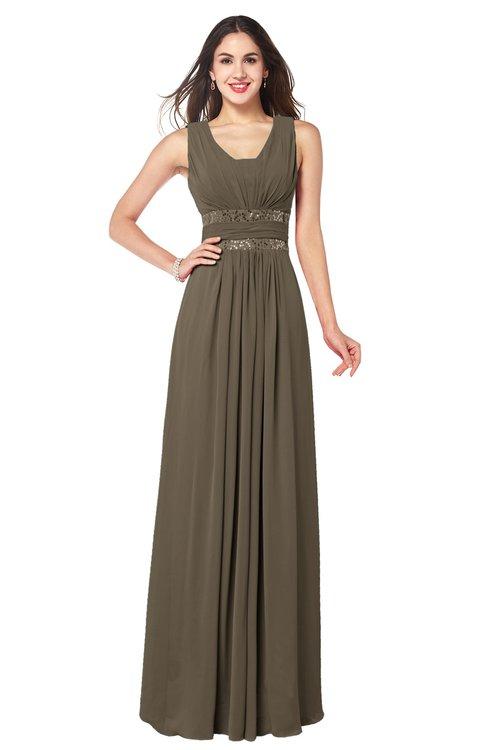 ColsBM Kelly Otter Glamorous A-line Zip up Chiffon Sash Plus Size Bridesmaid Dresses
