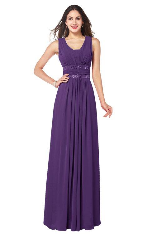 ColsBM Kelly Pansy Glamorous A-line Zip up Chiffon Sash Plus Size Bridesmaid Dresses