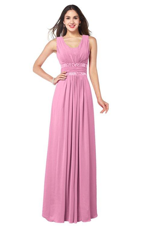 ColsBM Kelly Pink Glamorous A-line Zip up Chiffon Sash Plus Size Bridesmaid Dresses