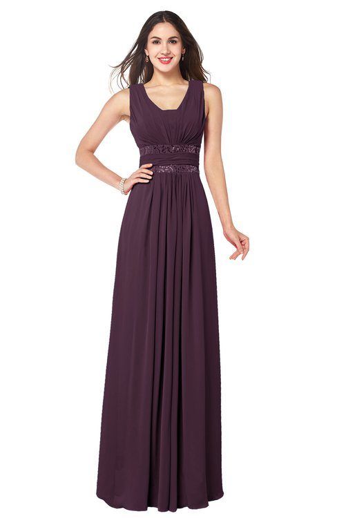 ColsBM Kelly Plum Glamorous A-line Zip up Chiffon Sash Plus Size Bridesmaid Dresses