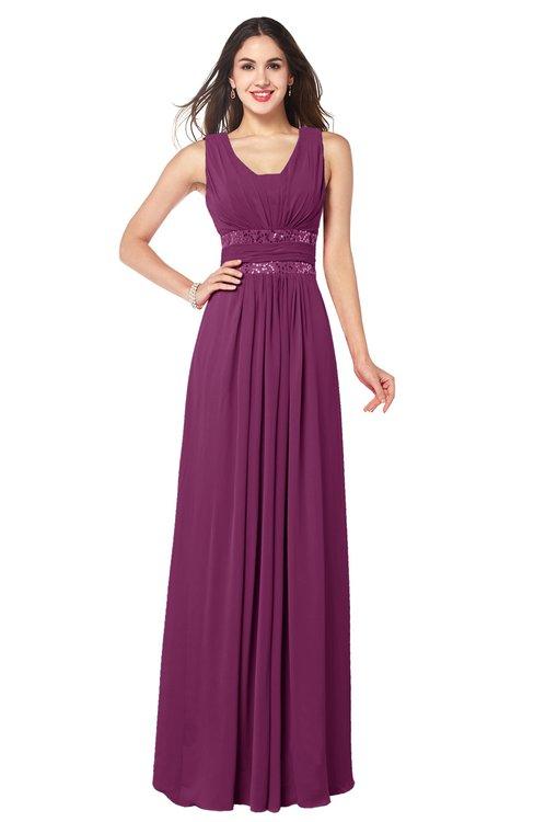 ColsBM Kelly Raspberry Glamorous A-line Zip up Chiffon Sash Plus Size Bridesmaid Dresses