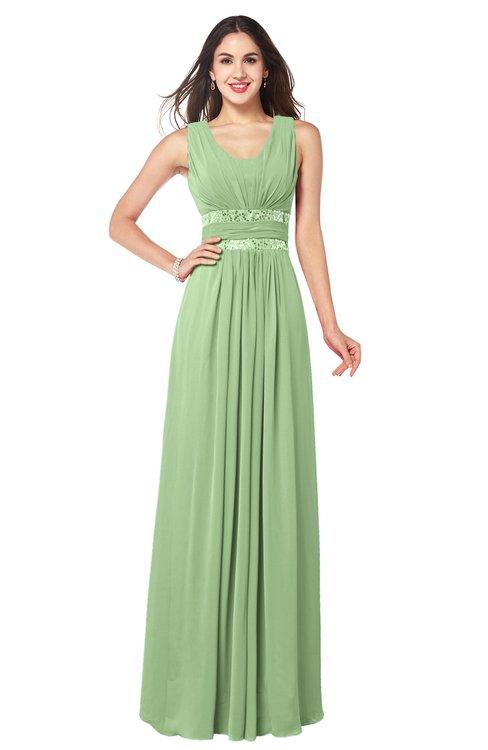 ColsBM Kelly Sage Green Glamorous A-line Zip up Chiffon Sash Plus Size Bridesmaid Dresses