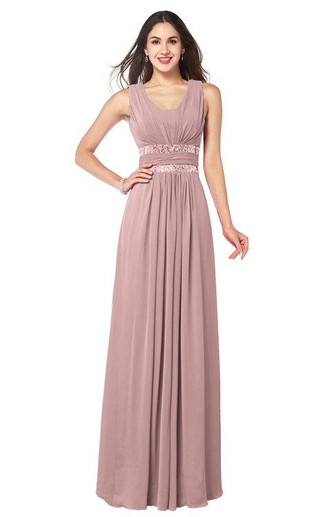 ColsBM Kelly Silver Pink Glamorous A-line Zip up Chiffon Sash Plus Size Bridesmaid Dresses