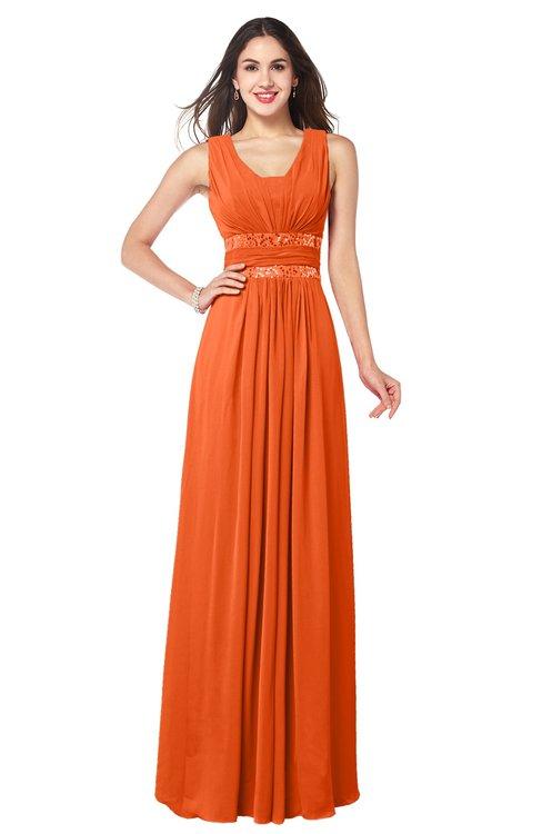 ColsBM Kelly Tangerine Glamorous A-line Zip up Chiffon Sash Plus Size Bridesmaid Dresses