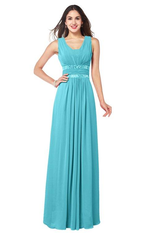 ColsBM Kelly Turquoise Glamorous A-line Zip up Chiffon Sash Plus Size Bridesmaid Dresses