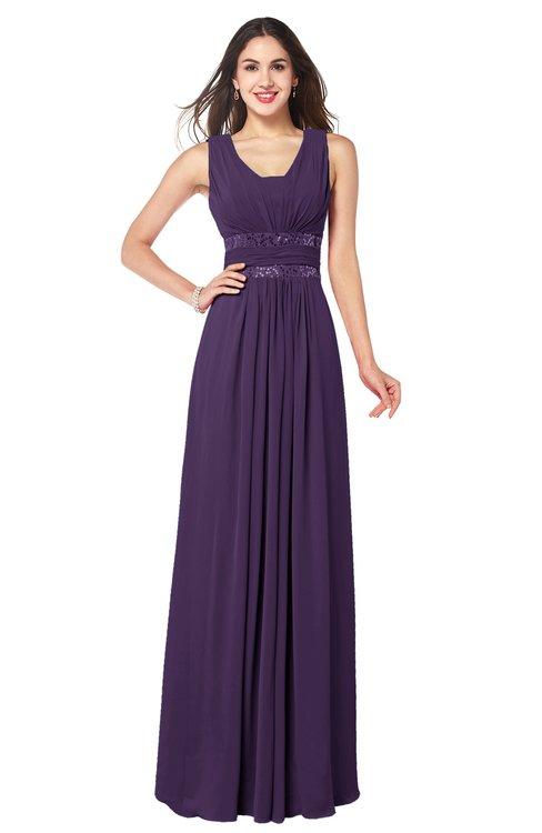 ColsBM Kelly Violet Glamorous A-line Zip up Chiffon Sash Plus Size Bridesmaid Dresses