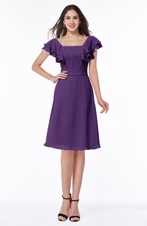 ColsBM Emely Dark Purple Simple A-line Portrait Knee Length Ribbon Plus Size Bridesmaid Dresses