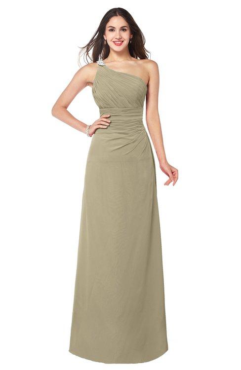 ColsBM Kamila Candied Ginger Traditional Asymmetric Neckline Sleeveless Half Backless Chiffon Floor Length Plus Size Bridesmaid Dresses