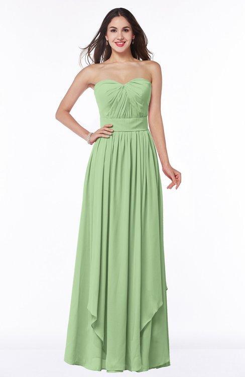ColsBM Kerry Sage Green Modern Sleeveless Zip up Floor Length Ruching Plus Size Bridesmaid Dresses