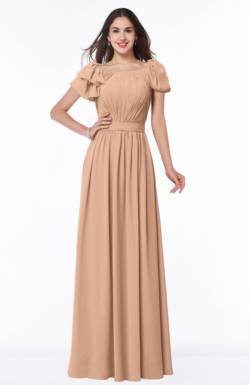 ColsBM Thalia Almost Apricot Mature A-line Zipper Chiffon Floor Length Plus Size Bridesmaid Dresses