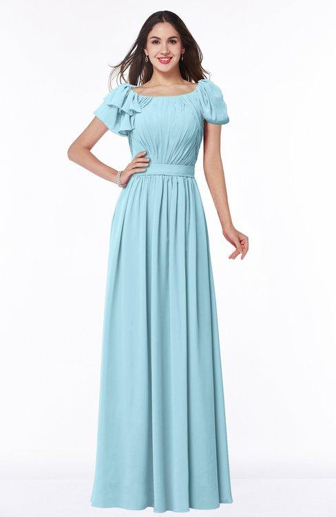 ColsBM Thalia Aqua Mature A-line Zipper Chiffon Floor Length Plus Size Bridesmaid Dresses