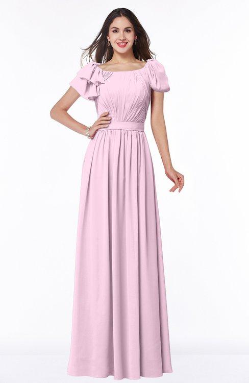 ColsBM Thalia Baby Pink Mature A-line Zipper Chiffon Floor Length Plus Size Bridesmaid Dresses