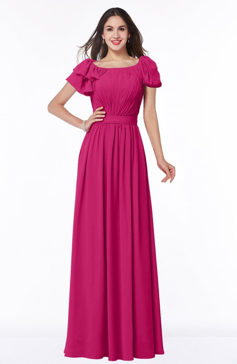 ColsBM Thalia Beetroot Purple Mature A-line Zipper Chiffon Floor Length Plus Size Bridesmaid Dresses