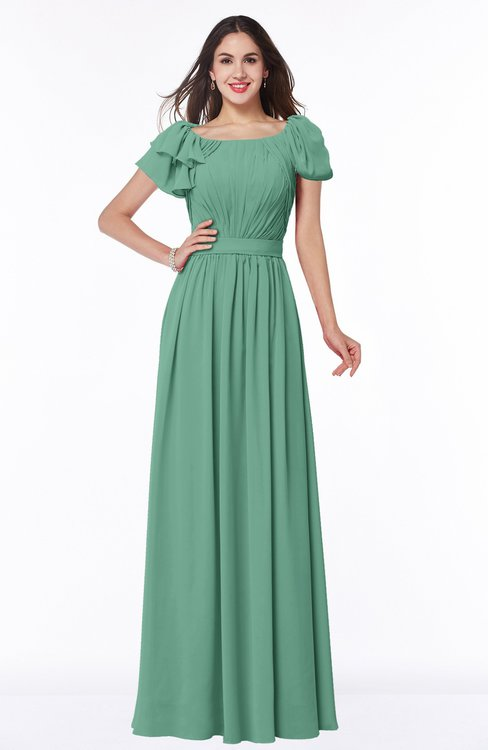 ColsBM Thalia Beryl Green Mature A-line Zipper Chiffon Floor Length Plus Size Bridesmaid Dresses