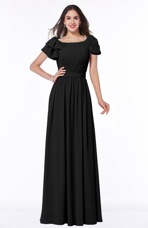 ColsBM Thalia Black Mature A-line Zipper Chiffon Floor Length Plus Size Bridesmaid Dresses