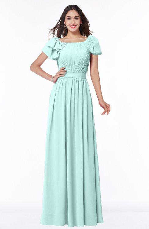ColsBM Thalia Blue Glass Mature A-line Zipper Chiffon Floor Length Plus Size Bridesmaid Dresses