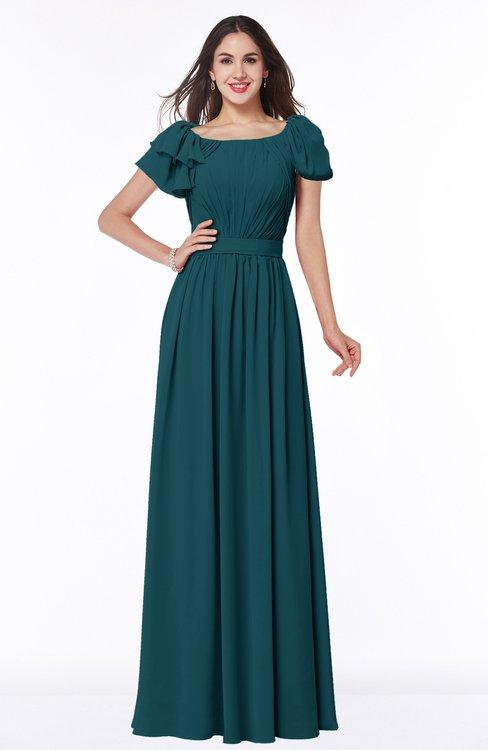 ColsBM Thalia Blue Green Mature A-line Zipper Chiffon Floor Length Plus Size Bridesmaid Dresses