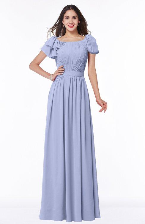 ColsBM Thalia Blue Heron Mature A-line Zipper Chiffon Floor Length Plus Size Bridesmaid Dresses