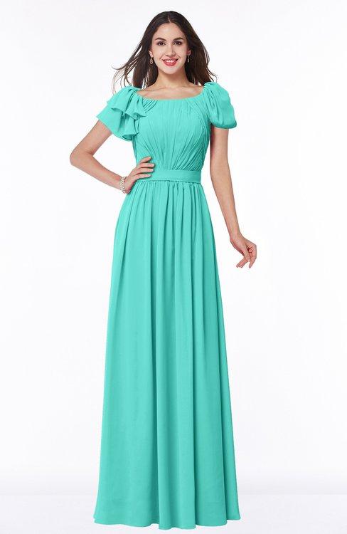 ColsBM Thalia Blue Turquoise Mature A-line Zipper Chiffon Floor Length Plus Size Bridesmaid Dresses
