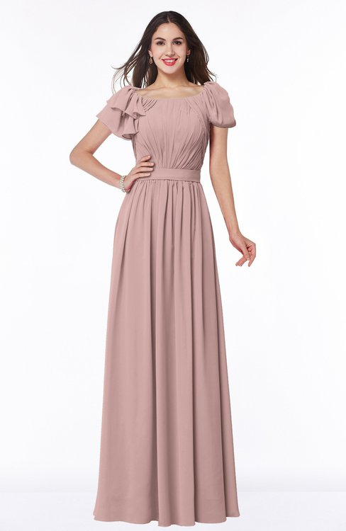 ColsBM Thalia Blush Pink Mature A-line Zipper Chiffon Floor Length Plus Size Bridesmaid Dresses