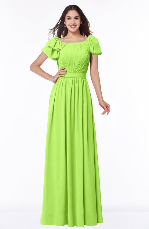 ColsBM Thalia Bright Green Mature A-line Zipper Chiffon Floor Length Plus Size Bridesmaid Dresses