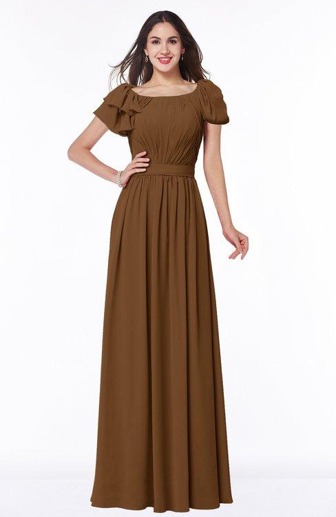 ColsBM Thalia Brown Mature A-line Zipper Chiffon Floor Length Plus Size Bridesmaid Dresses