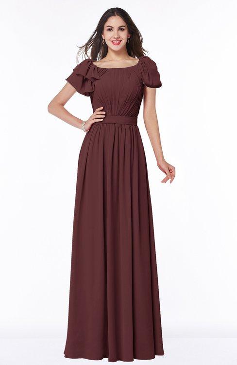 ColsBM Thalia Burgundy Mature A-line Zipper Chiffon Floor Length Plus Size Bridesmaid Dresses