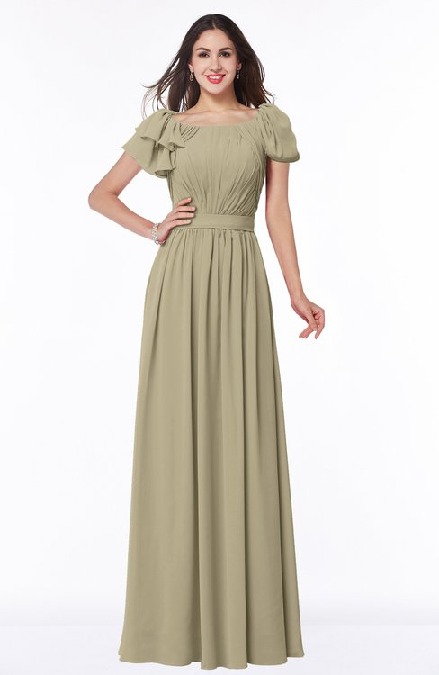 ColsBM Thalia Candied Ginger Mature A-line Zipper Chiffon Floor Length Plus Size Bridesmaid Dresses