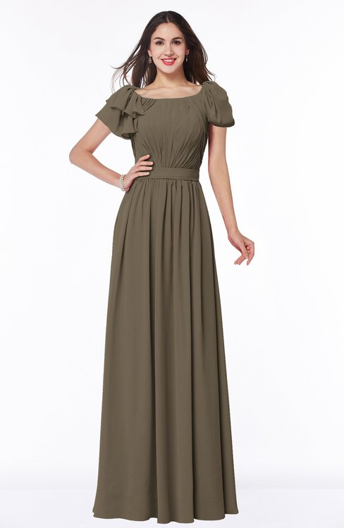 ColsBM Thalia Carafe Brown Mature A-line Zipper Chiffon Floor Length Plus Size Bridesmaid Dresses