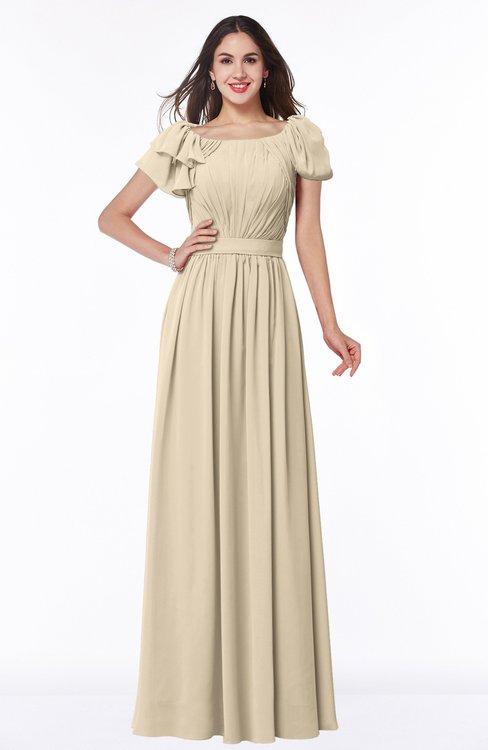 ColsBM Thalia Champagne Mature A-line Zipper Chiffon Floor Length Plus Size Bridesmaid Dresses