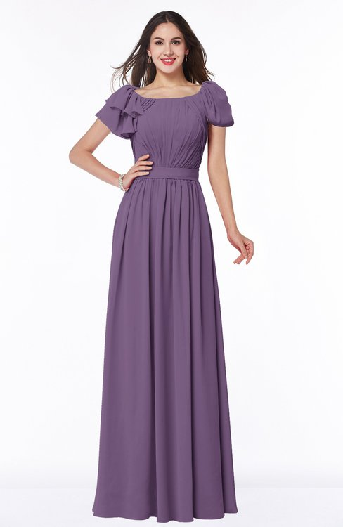 ColsBM Thalia Chinese Violet Mature A-line Zipper Chiffon Floor Length Plus Size Bridesmaid Dresses