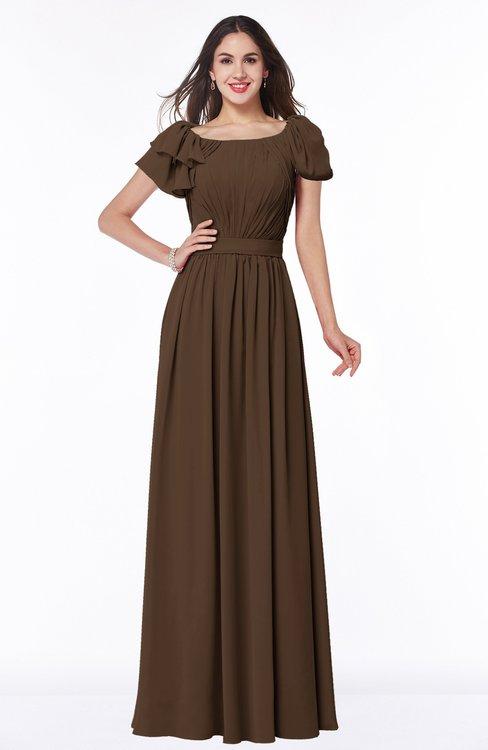 ColsBM Thalia Chocolate Brown Mature A-line Zipper Chiffon Floor Length Plus Size Bridesmaid Dresses