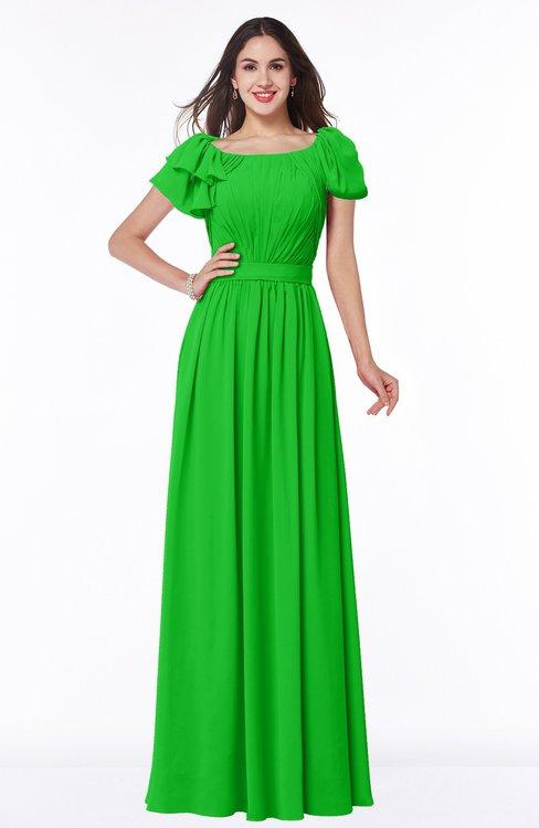 ColsBM Thalia Classic Green Mature A-line Zipper Chiffon Floor Length Plus Size Bridesmaid Dresses