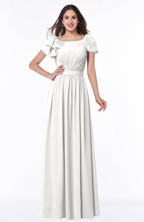 ColsBM Thalia Cloud White Mature A-line Zipper Chiffon Floor Length Plus Size Bridesmaid Dresses
