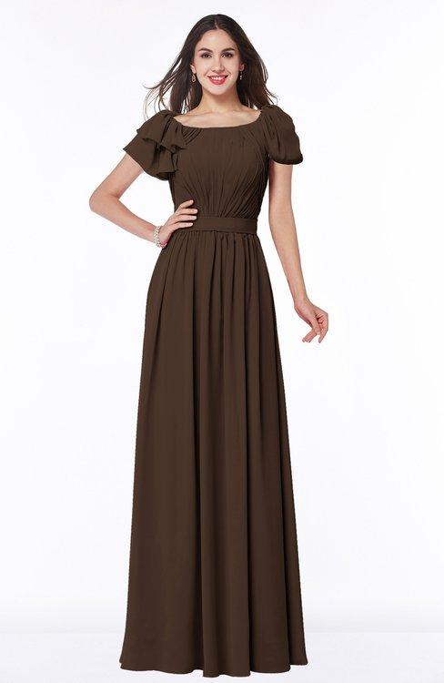 ColsBM Thalia Copper Mature A-line Zipper Chiffon Floor Length Plus Size Bridesmaid Dresses
