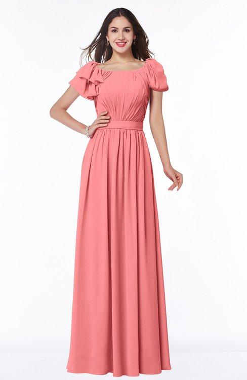 ColsBM Thalia Coral Mature A-line Zipper Chiffon Floor Length Plus Size Bridesmaid Dresses